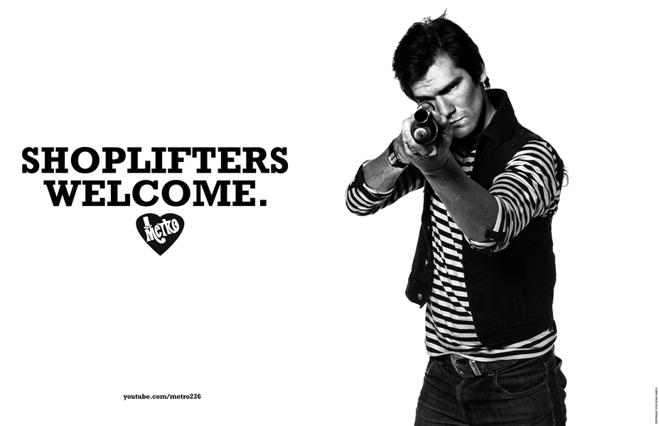 Corey Duffel in SHOPLIFTERS WELCOME, print campaign for METRO. Art directed, produced, styled, and photographed by Ryan Darcy. All Images © 2011, All Rights Reserved. Influences include Helmut Newton, Jeanloup Sieff, William Eggleston, Danny Lyon, David Douglas Duncan